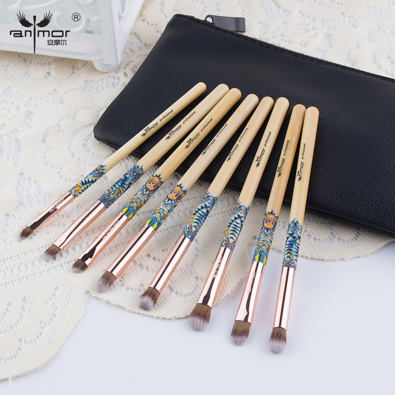 Anmor Sytnthetic Hair Eye Shadow Makeup Brushes Set 8pcs Bamboo Cosmetic Synthetic Hair Wood Handle Brush Make Up With Black Bag