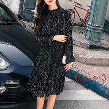 Two layers Floral Chiffon Dress Elastic Waist Women Spring A-line Lace Up Flare Sleeve Bohemian Dress Femme Vestidos 2019(China)