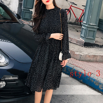 Two layers Floral Chiffon Dress Elastic Waist Women Spring A-line Lace Up Flare Sleeve Bohemian Dress Femme Vestidos Best Women Dresses