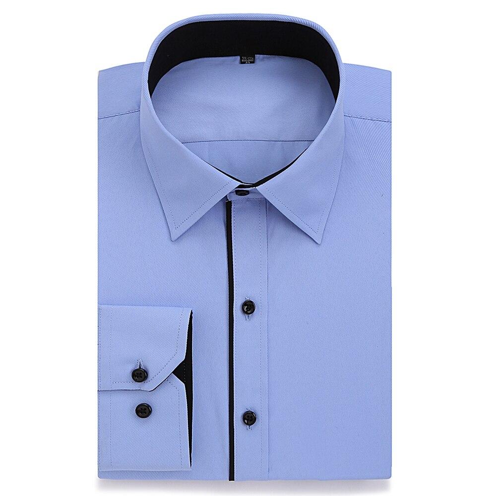 Plus Size Dress Shirt Men 8XL 7XL 6XL High Cotton Long Sleeve Easy Care Slim Fit