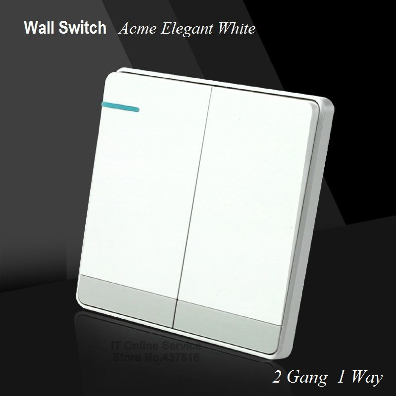 Large Panel Wall Switch  acme elegant white Simple and Fashion Decoration Switch 2 Gang 1 Way Single Control Switch 86mm*86mm luxury champagne gold wall switch round button switch 3 gang double control light switch simple and fashion 86mm 86mm