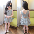 2017 Summer New Baby Girls Party Dresses for Kids Backless Fashion Dress Children's Striped Hollow Clothes Girls Clothing
