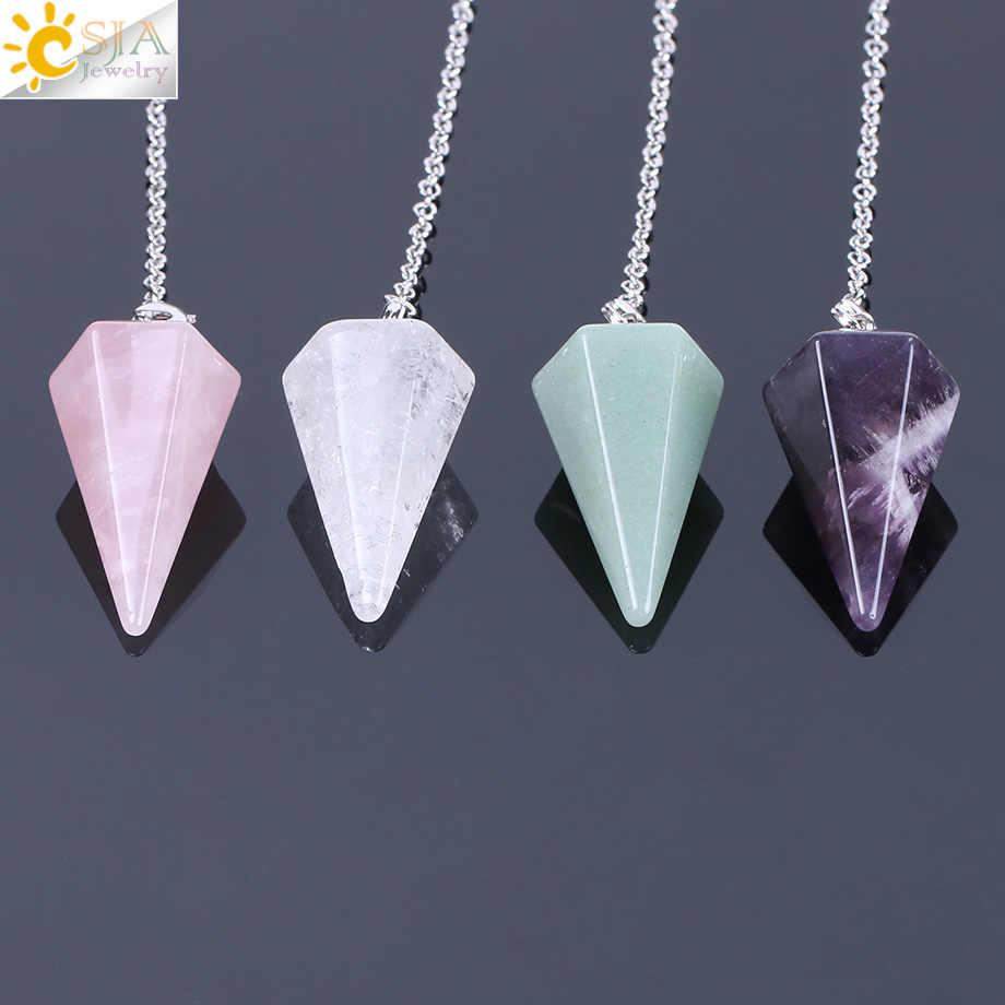 CSJA ขนาดใหญ่ผู้ชายผู้หญิงธรรมชาติอัญมณีเครื่องประดับหิน Reiki Pyramid ลูกตุ้ม Hexagonal จี้ Amulet คลาสสิก E112