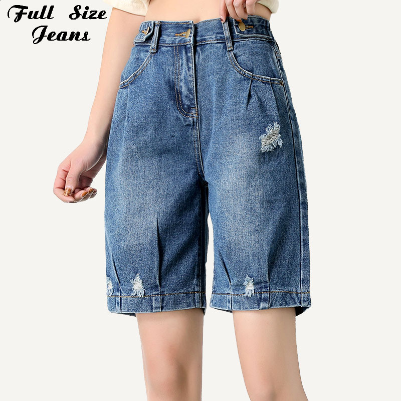 Women Plus Size Loose Wide Leg Bloomers Style Short   Jeans   7XL Summer Vintage Elastic Waist Bermuda Denim Shorts Femme Mom   Jean