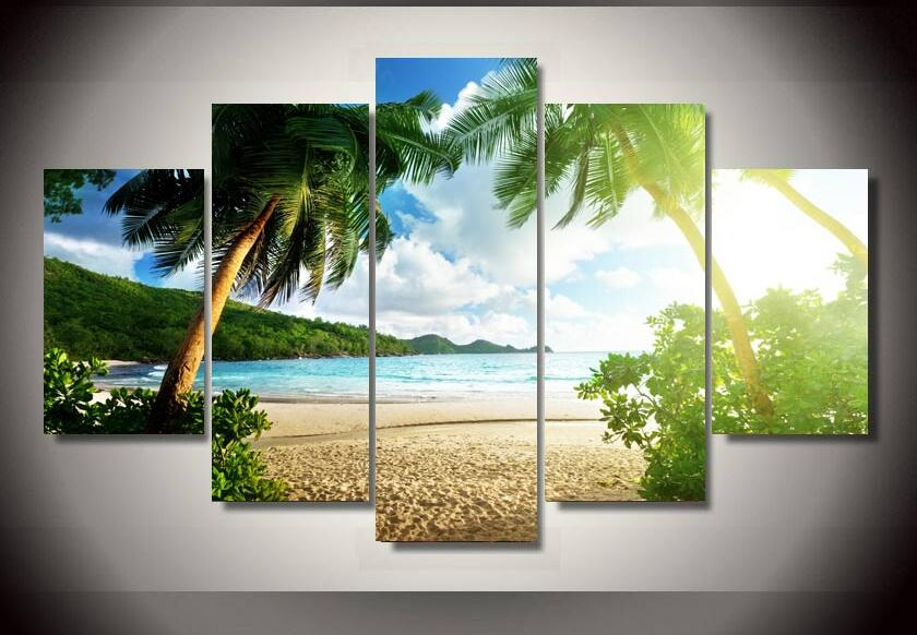 HD Printed beach palm tree Group Painting children's room decor print poster picture canvas Free shipping no frame