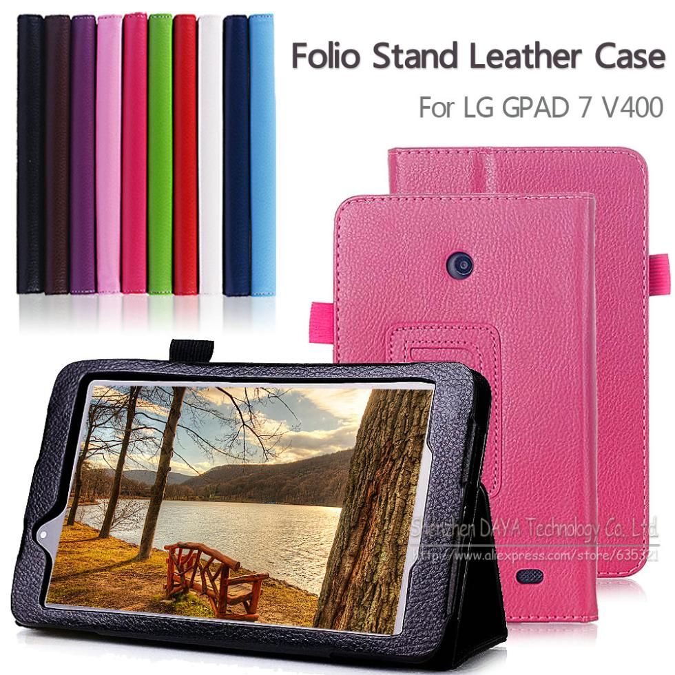 High Quality Folio PU Leather Case Stand Cover for LG Gpad 7.0 V400 7 inch Tablet PC case Free Shipping