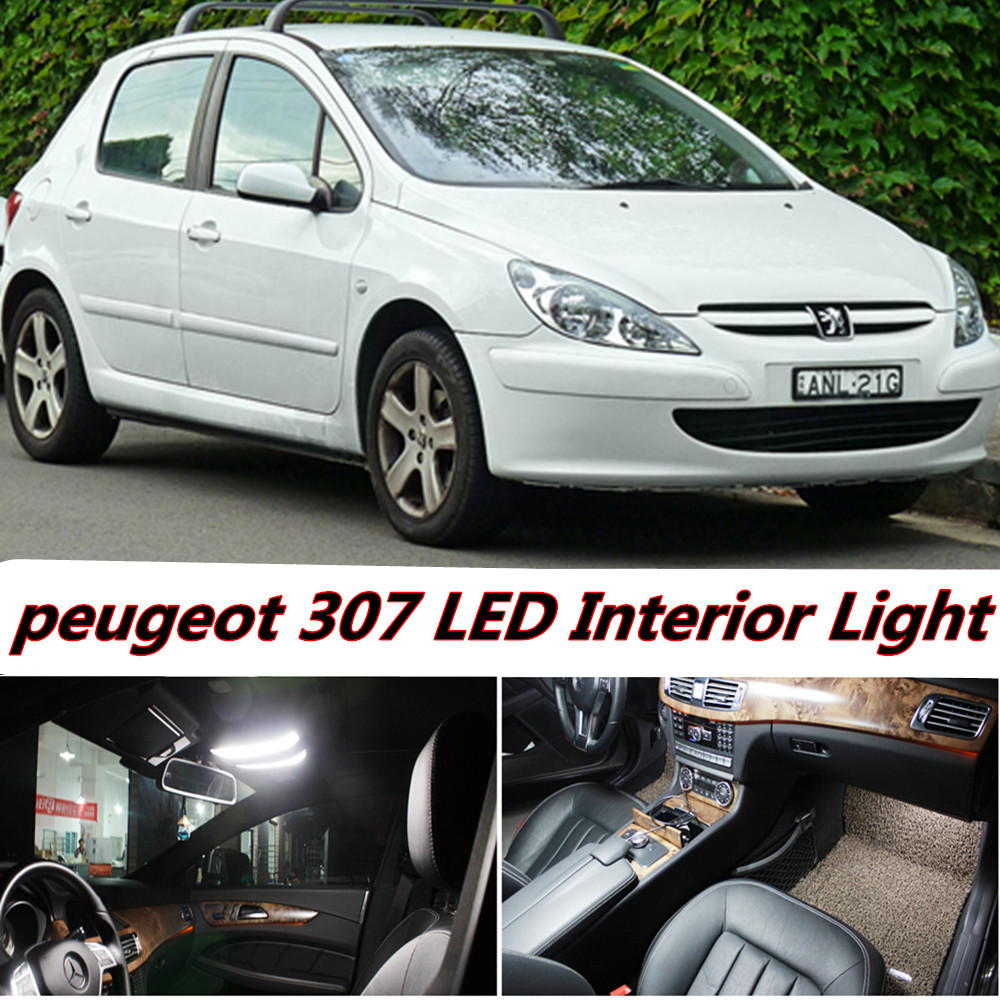 7pcs X free shipping Error Free LED Interior Light Kit Package for peugeot 307 accessories 2002- 2011 free shipping new arrival 35pcs pack 2m pcs led aluminum profile for led strips with milky or transparent cover and accessories