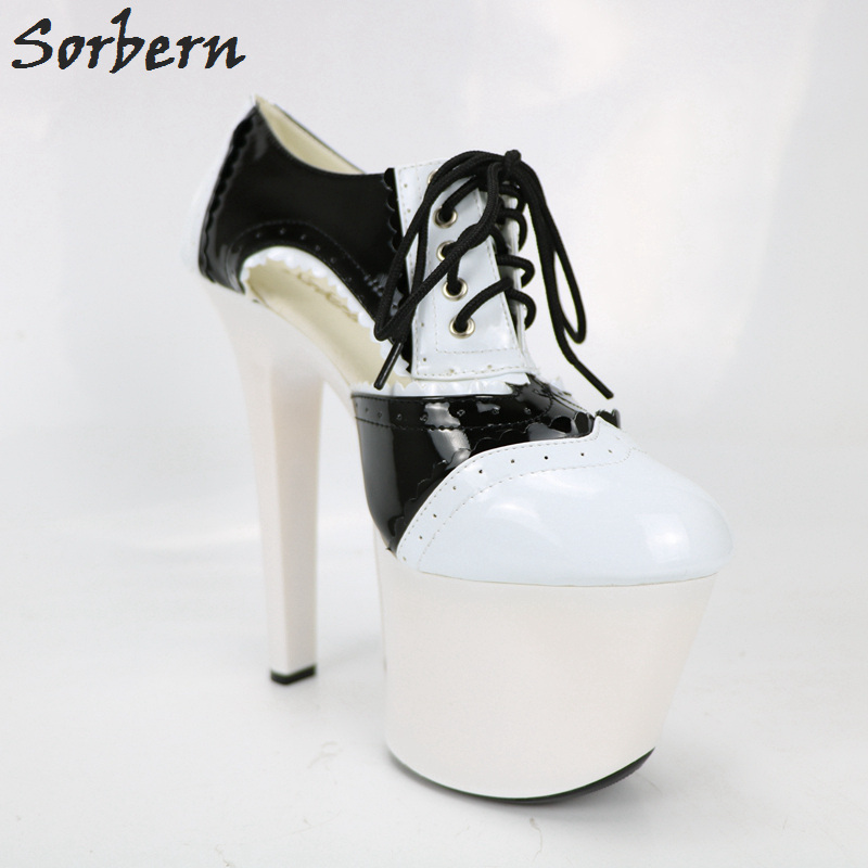 Sorbern Black And White Shiny Women Pumps Lace Up Super High Heels Platform Round Toe Platform Shoes Patent Leather Heels 2018 annymoli platform high heels lace up wedge shoes ladies pumps pointed toe lace up increasing heels shoes black white size 34 39