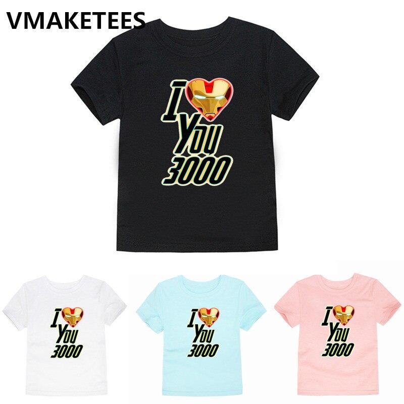 I Love You 3000 Times Iron Man Print Kids T shirt Children Avengers 4 Endgame Funny Clothes Boy/Girl Summer T-shirt,HKP5283E(China)