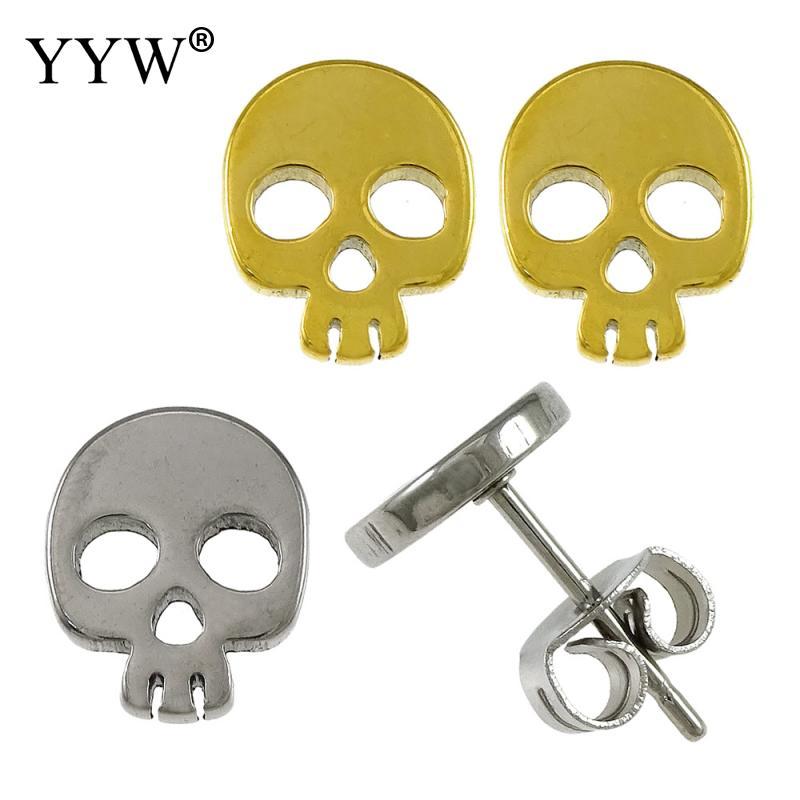 Fashion Cool Punk Stainless Steel Earrings For Men Women Gold/Sliver Color Skull Shape Earrings Studs Best Jewelry Gift Women