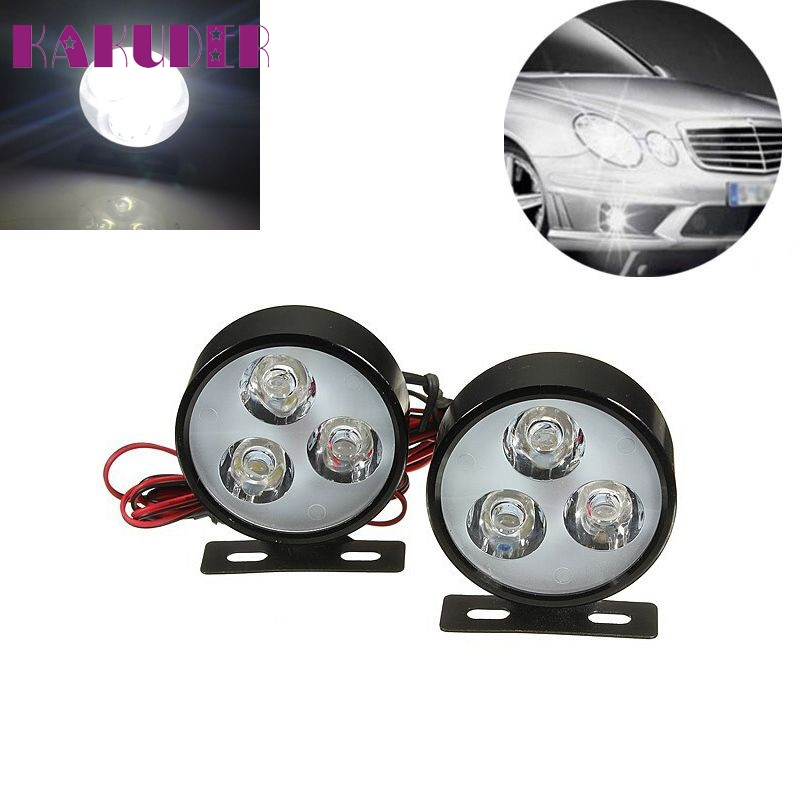 NEW 2x Car 3LED 6W Round DRL Daytime Running Driving Fog LED Light Lamp Bulb fashion hot L615  new 2x 4 led round drl daytime running driving auto car fog light lamps bulb kit set car accessories