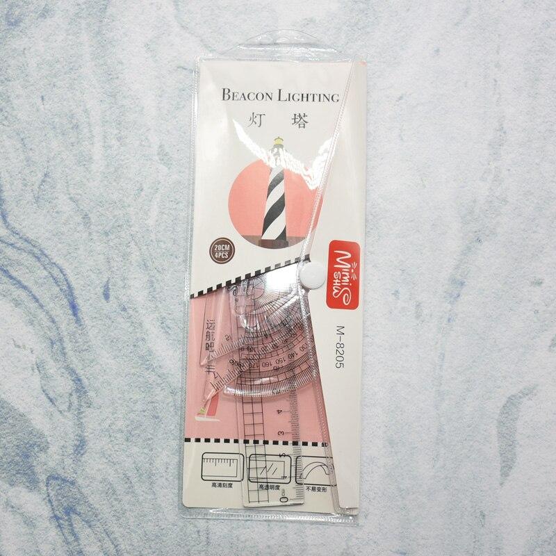 4 Pcs/ Set Of Light Cones Student Ruler Mathematical Geometry Plastic Material Set Ruler School Student School Supplies
