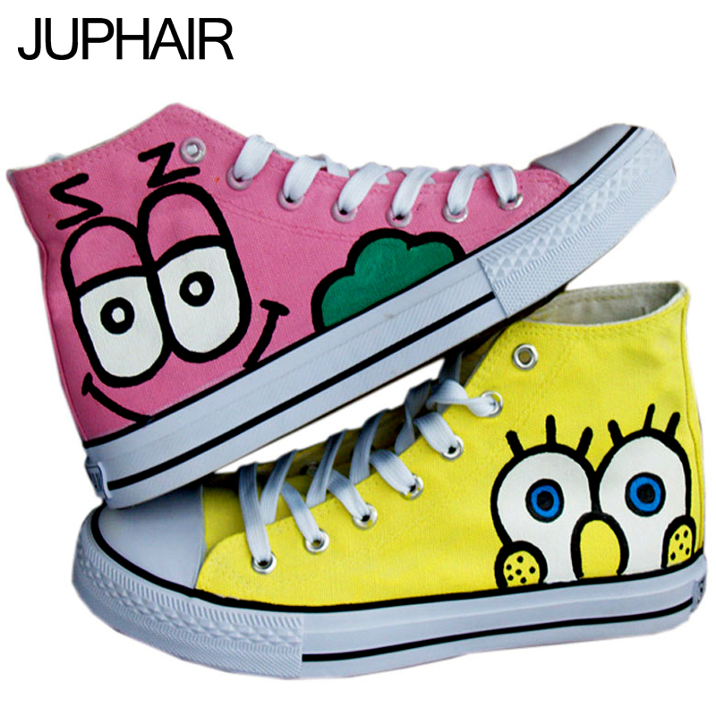 ФОТО JUP Men Males Girl Despicable Me Minion Spongebob Pink Purple Princess Castle Rabbit Cat Girl High Top Hand Painted Canvas Shoes