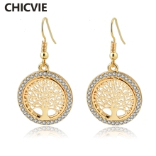 CHICVIE Tree of Life Crystal Flower Piercing Earring With Stones For Women Gold color Round Statement Earrings Fashion Jewelry(China)