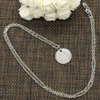 New Fashion Circle Bear Pendants Round Cross Chain Short Long Mens Womens DIY Silver Color Necklace Jewelry Gift 1