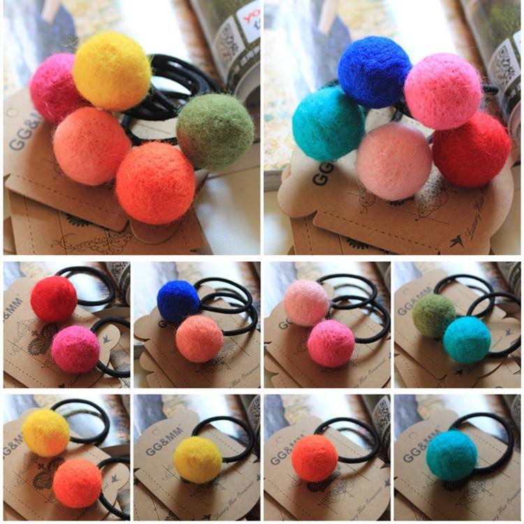 Korea imports all handmade wool felt ball hair ring hair rope wholesale hair accessories for women girl children Free Shipping