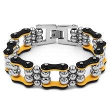 Black Yellow Chain Link Steel Balls Biker Bracelet Stainless Steel Jewelry Fashion Heavy Cool Motor Biker Mens Bracelet SJB0334