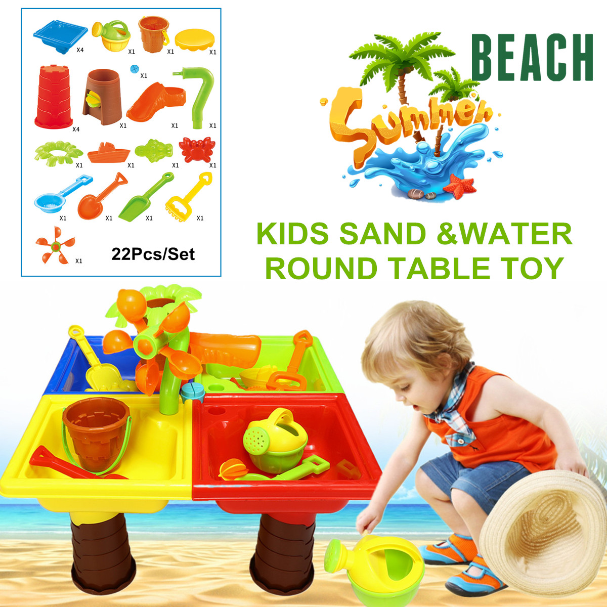 22Pcs Sand & Water Table Box Kids Children Outdoor Activity Beach Toy Play Set ABS Four Separated Bright Color Water Play Table 22pcs sand