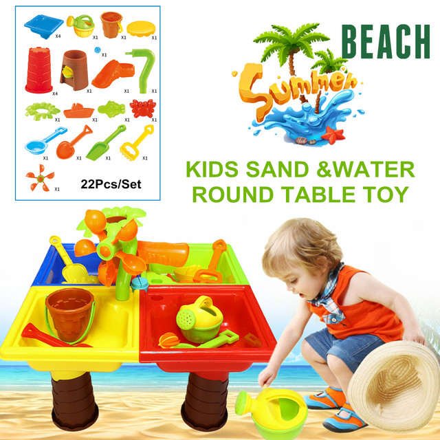22pcs Sand Water Table Box Kids Children Outdoor Activity Beach Toy Play Set Abs Four