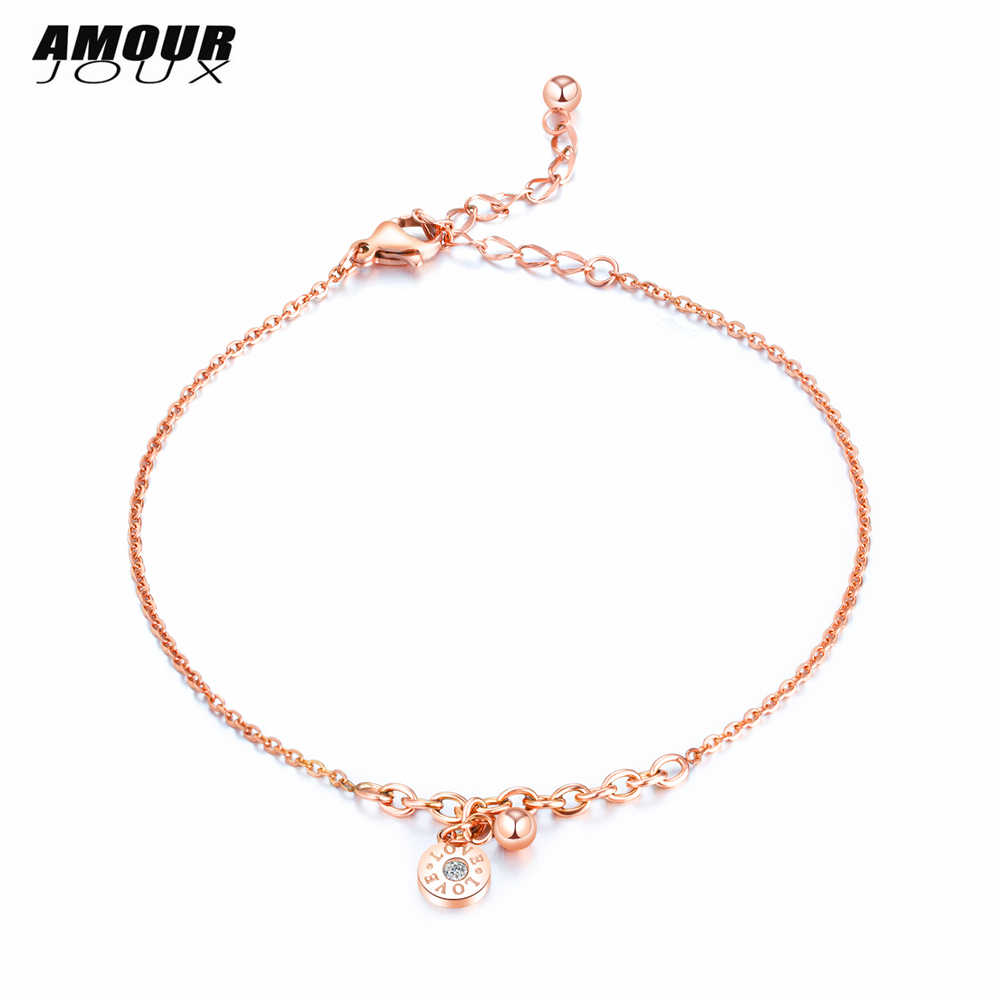 AMOURJOUX Fashion Rome Number Round Zircon 316L Stainless Steel Charm Leg Anklets For Women Ankle Bracelet Chain Foot Jewelry