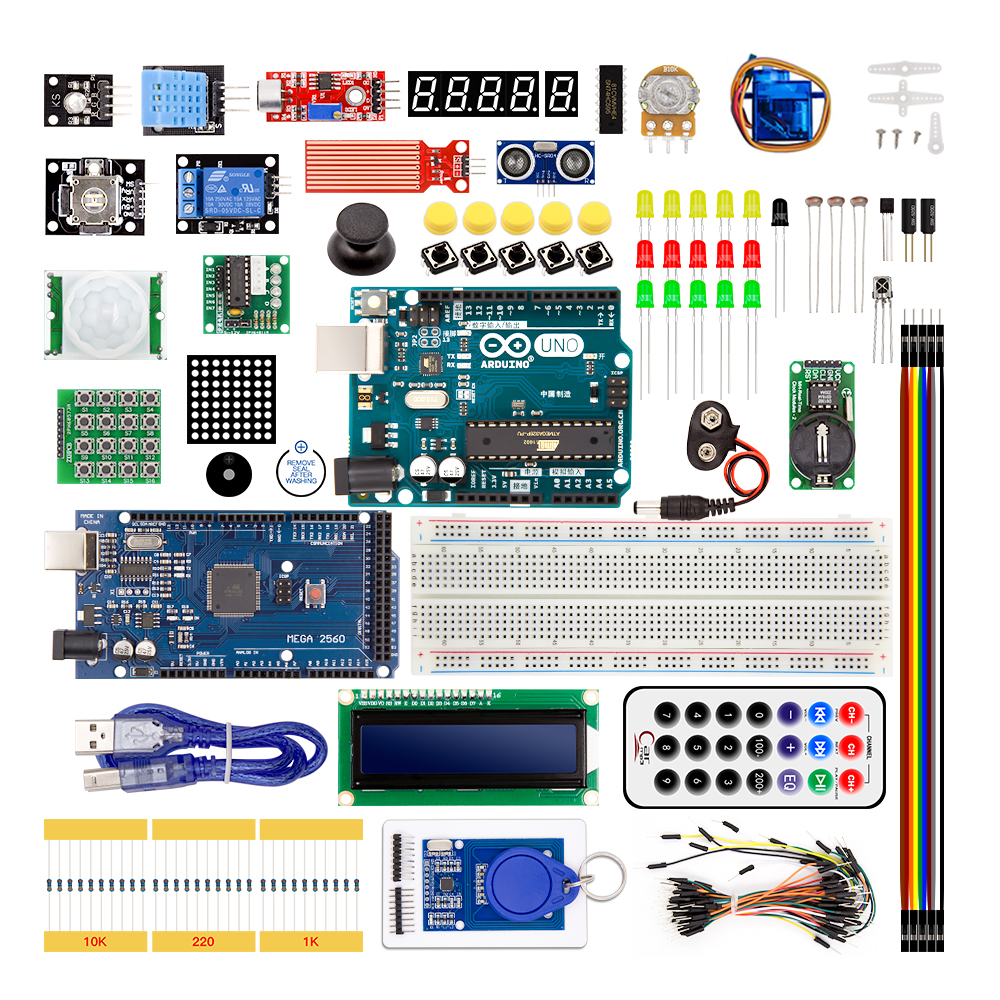Arduino Starter Kit With uno R3 and mega 2560 / lcd1602 / hc-sr04 / HC-SR501 dupont line in plastic box