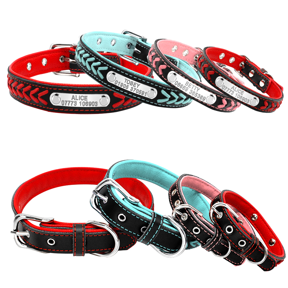 Custom Leather Dog Collar Personlig Graveret Puppy Cat Dog Tag krave - Pet produkter - Foto 2