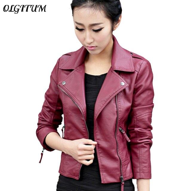 Nueva gran oferta chaqueta de mujer 2019 chaqueta de otoño primavera negro/rojo cremallera moda delgada suave PU cuero corto prendas de vestir JK244 S-2XL
