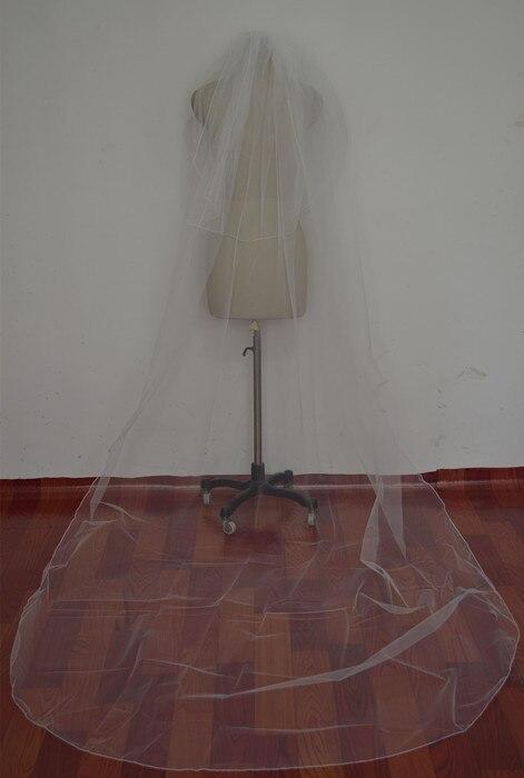 330 см Длинная свадебная фата простой белый слоновая кость тюль для свадебная вуаль свадебные аксессуары гребень OV0004