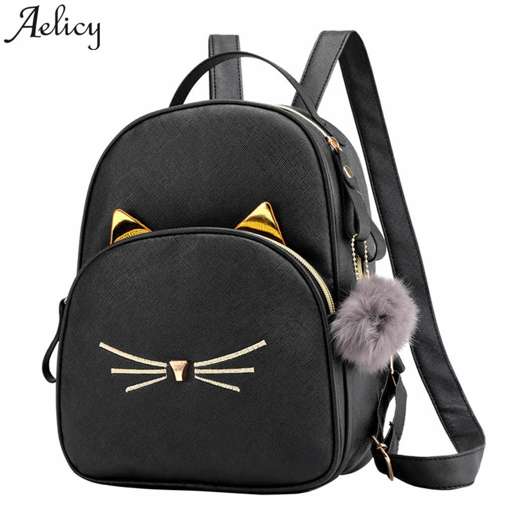 Aelicy women Backpack Simple Multi-Function Small Ladies backpack Hairball cute cat Travel girls School Bags mochilas mujer 2020