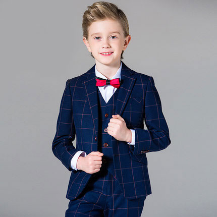 new fashion baby kids boys children blazers suits boys suits for weddings formal dark blue lattice wedding suit flower boy dress