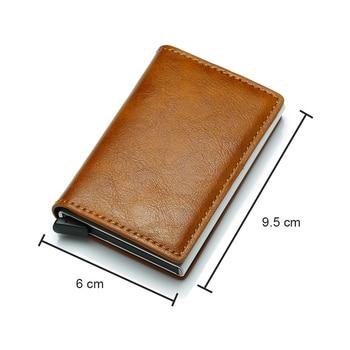 DIENQI Top Quality Wallet Men Money Bag Mini Purse Male Vintage Automatical Aluminium Rfid Card Holder Wallet Small Smart Wallet