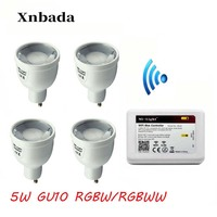 IBX2 RF Remote Wifi +5W RGBW/RGBWW Led Lamp, Mi Light GU10 2.4G Led bulb light Dimmable Led light 110V/220V Free shipping