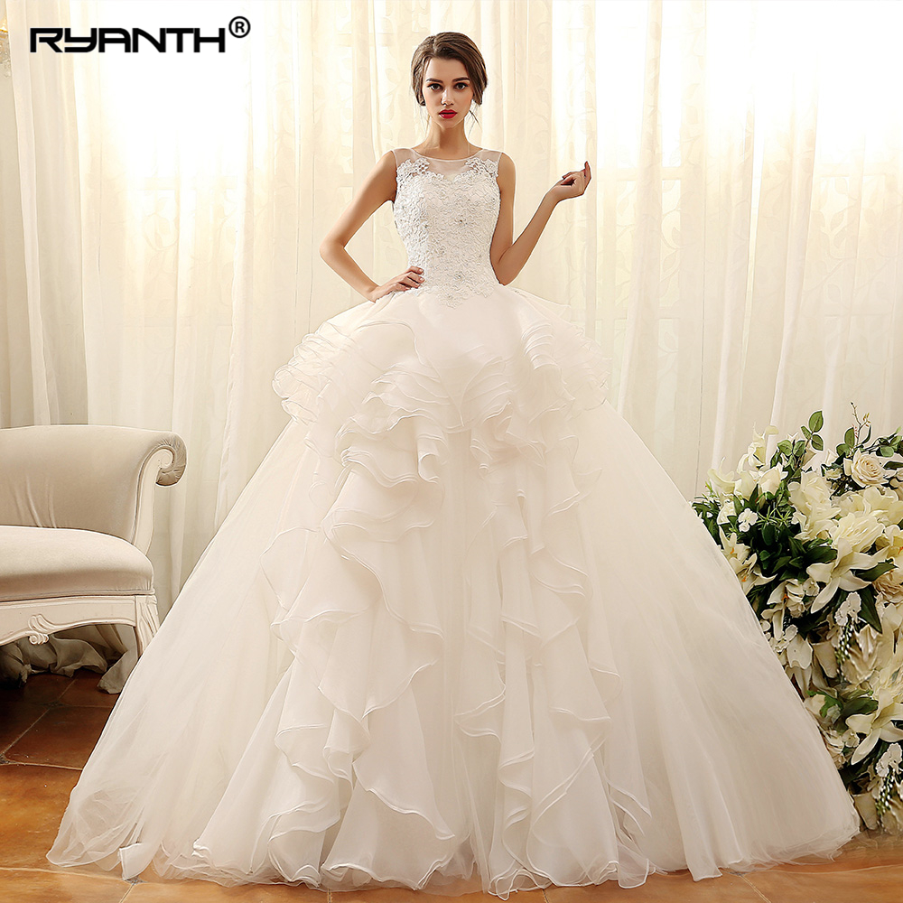 Robe de Mariage Luxurious Ruffles Organza 2 En 1 Princess Wedding Dresses 2019 Customize Lace Up