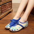 Плюс Размер 41 Мода Обувь Женщина, старый Пекин Мэри Джейн Квартиры Повседневная Обувь, Китайский Стиль Цветок Вышитые Ткани Холст Обувь