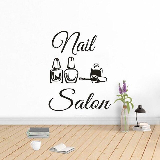 Nail Salon Logo Vinyl Wall Decal Beauty Salon Decoration Manicure Pedicure Window Poster Nails Art  Polish Wall Sticker AZ141