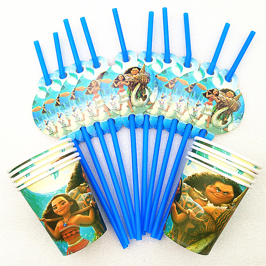 20pcs/Set Moana Party Supplies Kids Boys Birthday Drinking Straws Cups Baby Shower Decorations Moana Party Favors