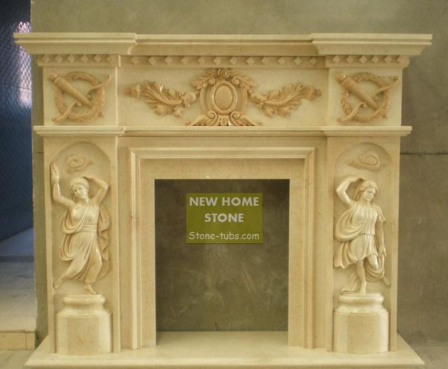 Building Fireplace Mantel Hand Carved Statue With Wonderful Detail Throughout Multi Colored Matching Marble