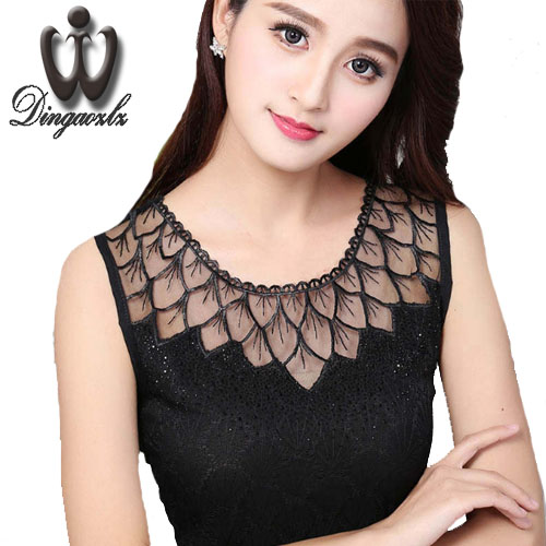 Dingaozlz Summer Women clothing Blusas Femininas Fashion Sleeveless shirt Casual diamond Lace blouse Tops