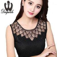 Dingaozlz Summer Women Clothing Blusas Femininas Fashion Sleeveless Shirt Casual Diamond Lace Blouse Tops