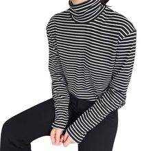 Black White Striped Shirt Women Long Sleeve
