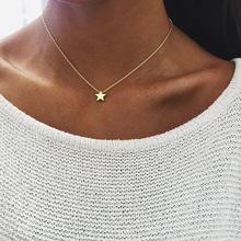 Simple Star Pendant Necklace Women Fashion Gold Silver Color Long Chain Choker Necklace Collares Collier Jewelry women fashion star pendant necklace personality creative clavicle chain long necklace collares jewelry xl527