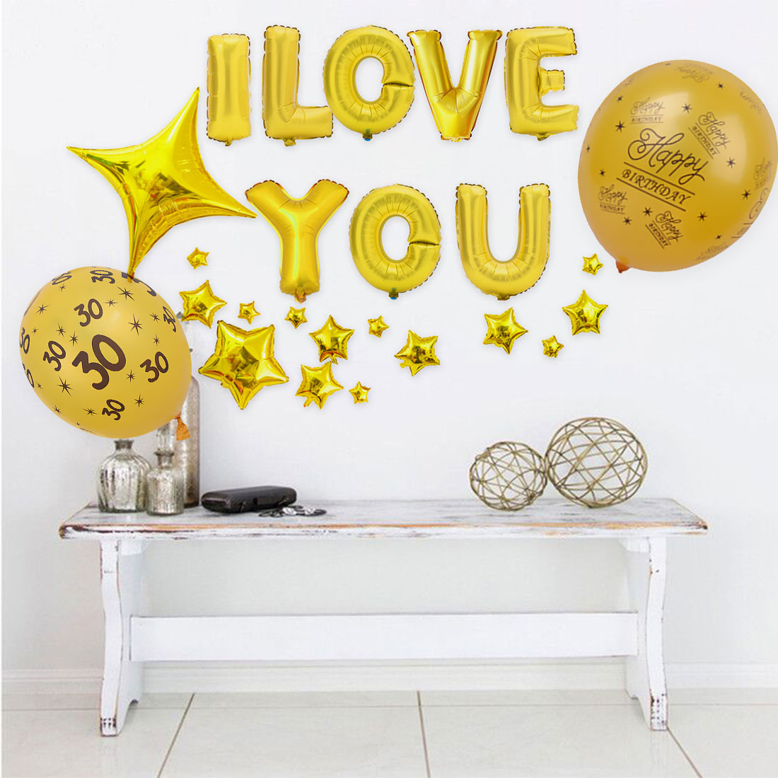 Party Supplies 10pcs 12inch Happy Birthday Balloon 30 40 50 ...