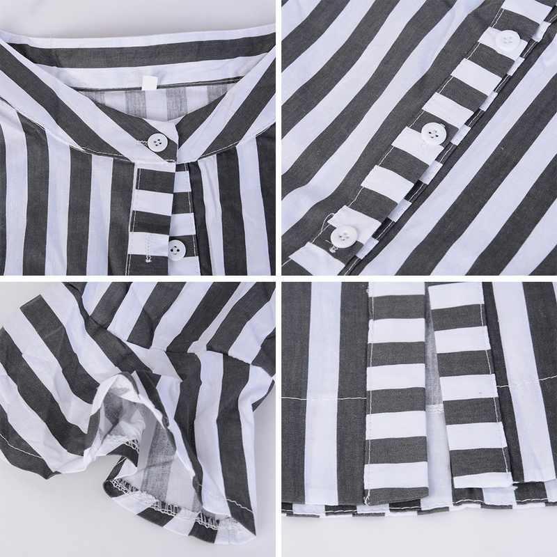 2019 kobiety bluzka sukienka damska w paski długa sukienka koszulowa luźne przycisk kobiet czarny biały w paski pół rękawem w stylu Vintage kobiet