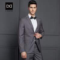 Tailor made Men Grey Suit Business Slim fit Wedding Suit Men Tuxedo 2 Pieces(Jacket+Pants) No.SZ160X5