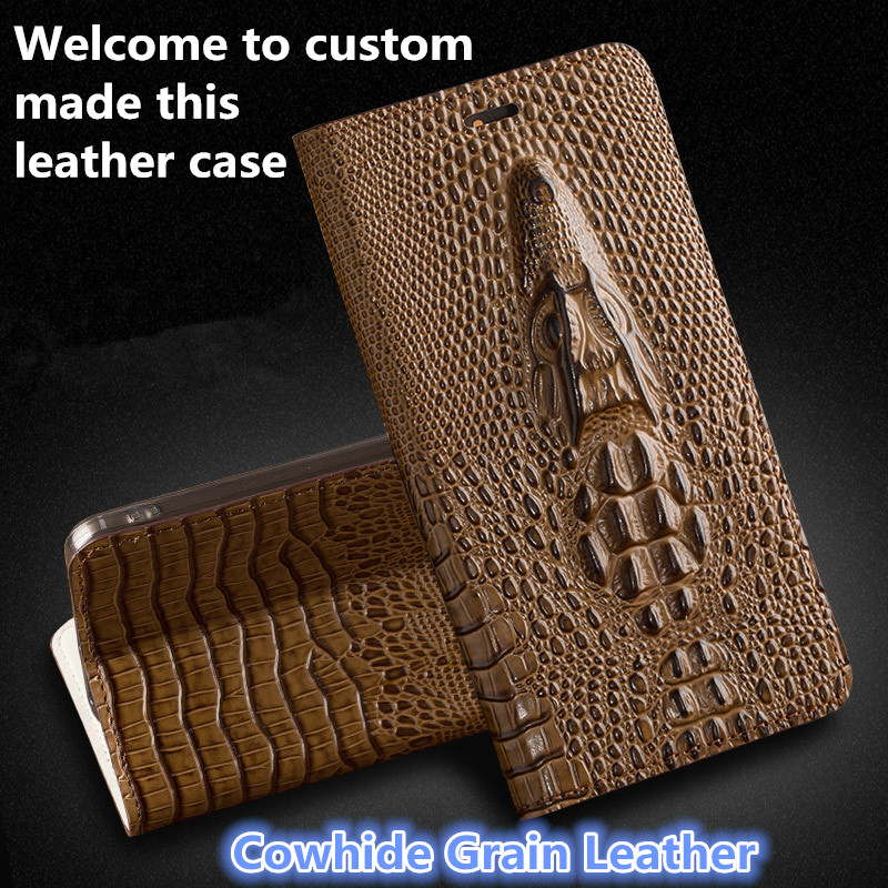 JC10 Crocodile head Pattern Genuine Leather Flip Case For Asus ZenFone 3 ZE520KL Phone Case with Card Slot free shipping