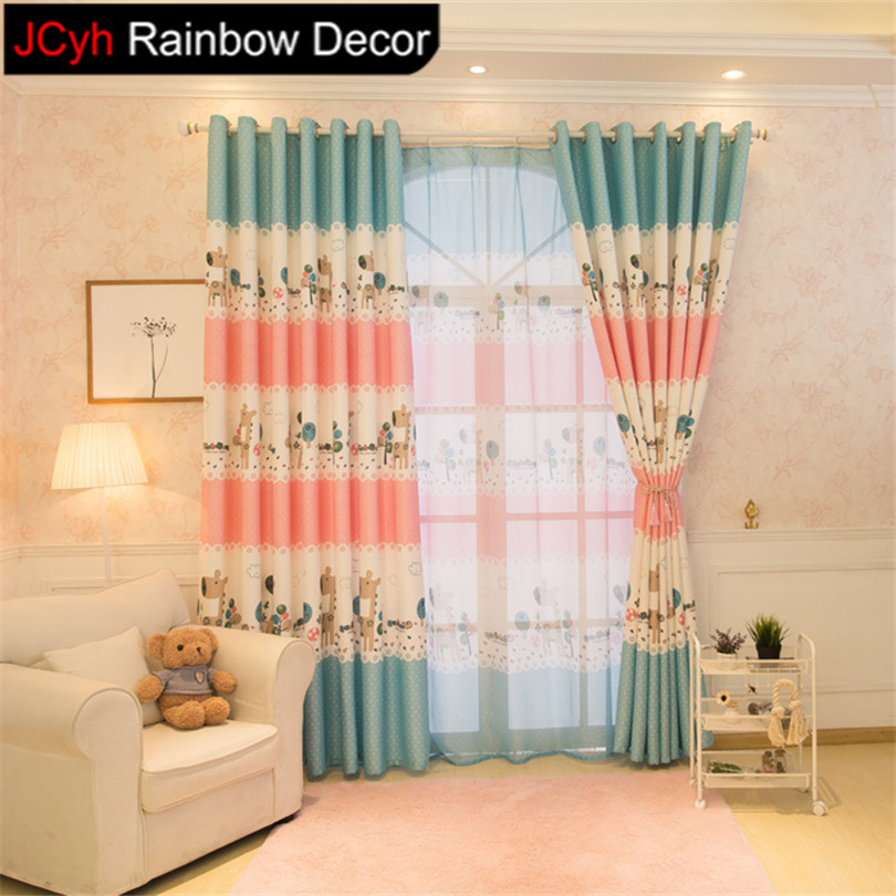 Review JRD Baby Animals Sheer Curtains Blinds Cartoon Horse Window Blackout Curtain For Child Living Room Bedroom Screening Kids Drapes in Curtains from Home Style - Simple Elegant Nursery Curtains For Your House