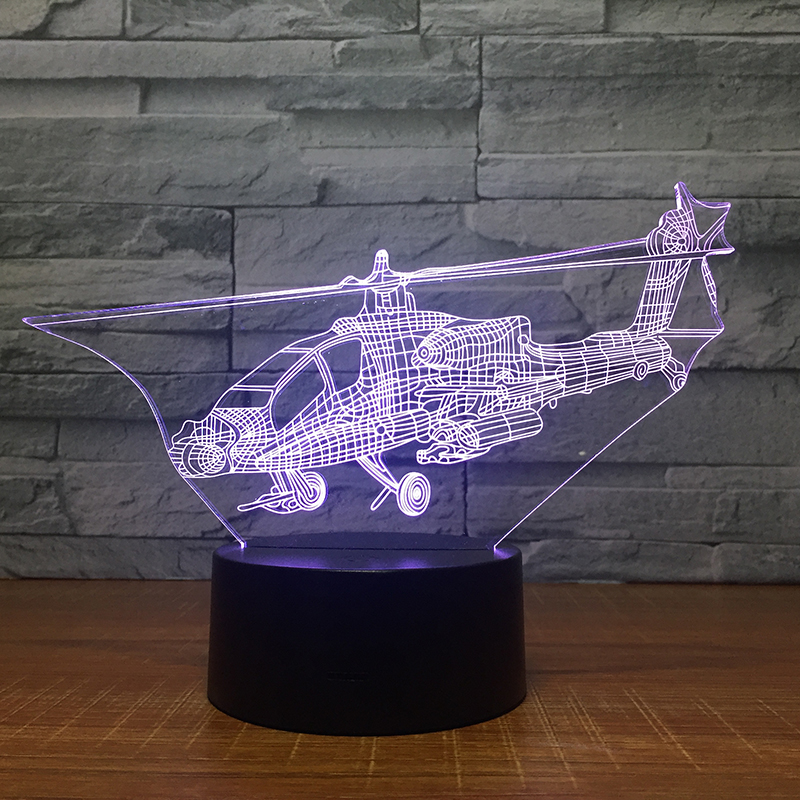 Lumiwell Remote Control Air Plane 3D Light LED Table Lamp Night Light 7 Colors Changing Mood Lamp 3 AA Battery Powered USB Lamp