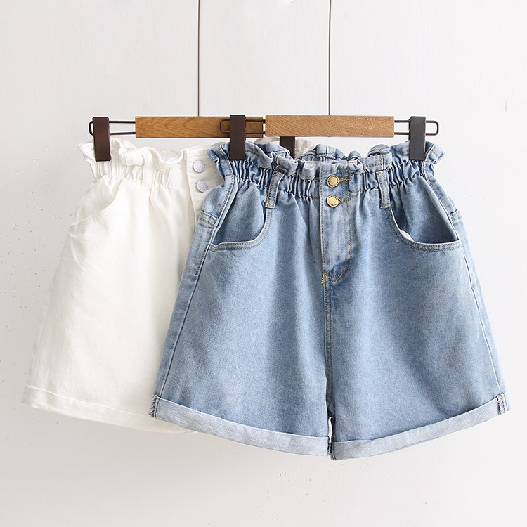 2019 Casual Loose High Waist Denim Shorts Women Vintage Lace-Up Elastic Waist Short Jeans Pocket Blue White Black Jeans
