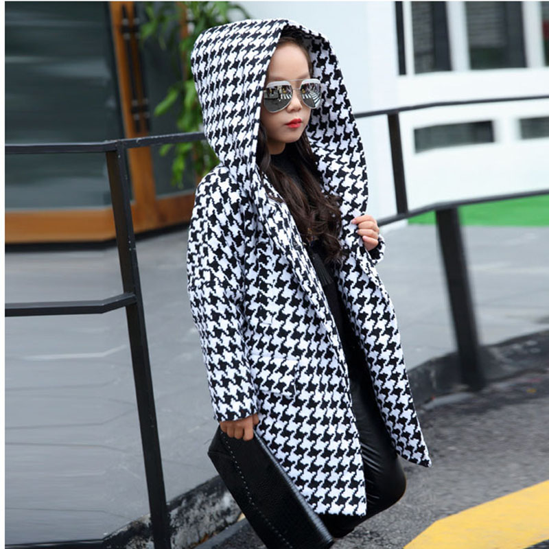 Long Girls Parkas Jackets Coats Winter 2017 With Hoods Black White