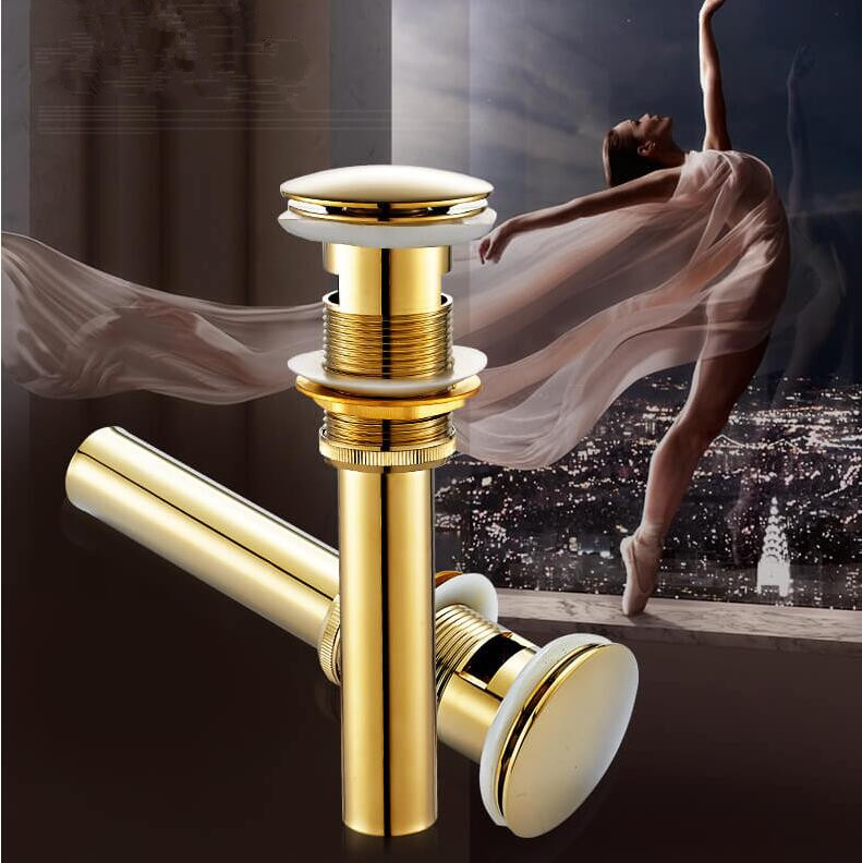 Brass With/Without overflow Bathroom Lavatory Sink Push-down Pop Up Basin Drain Gold/Antique bathroom parts faucet accessories
